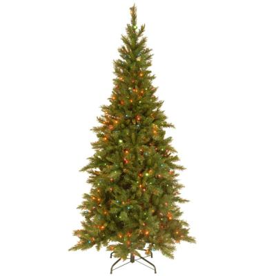 7-1/2 ft. Tiffany Slim Fir Hinged Artificial Christmas Tree with 550 Multicolor Lights-UL