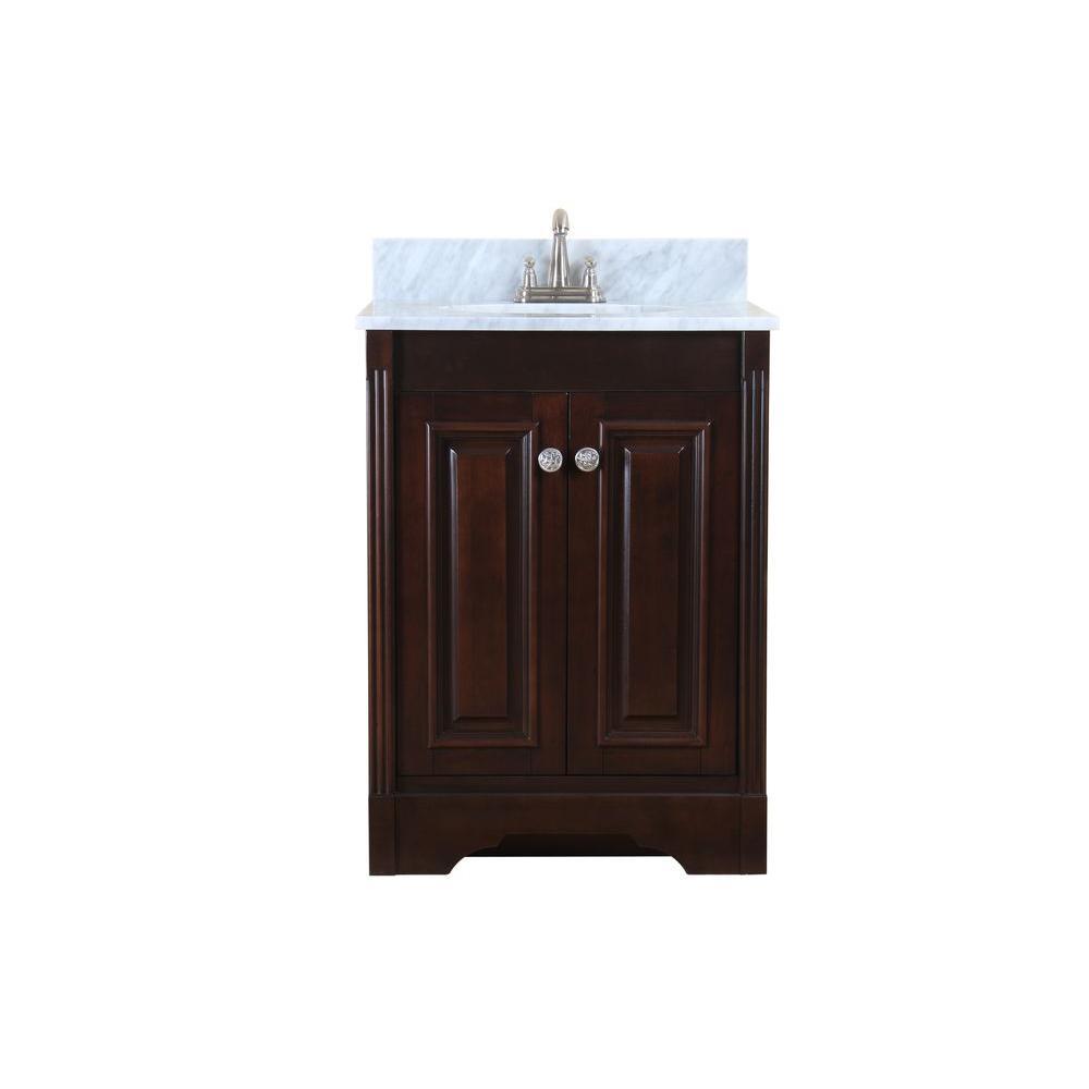 Virtu USA Austen 25 in. Single Basin Vanity in Dark Walnut with Marble Vanity Top in Italian Carrera White-DISCONTINUED