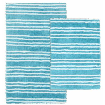 Baha Mar Blue Bird/White 21 in. x 34 in. Striped Nylon Polyester 2-Piece Bath Mat Set