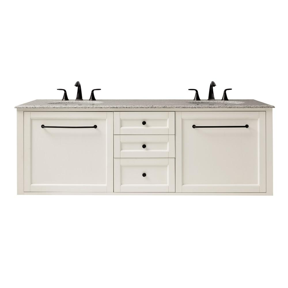 Home Decorators Collection Hamilton 68 in. W Wall Hung Double Vanity in Ivory with Granite Vanity Top in Grey with White Sink