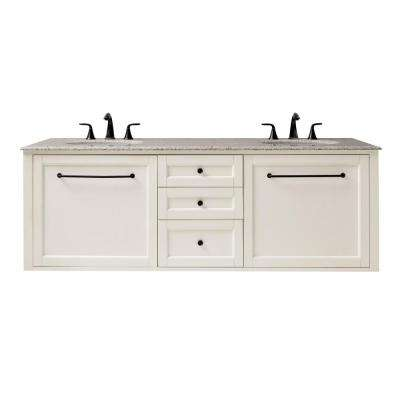 Hamilton 68 in. W Wall Hung Double Vanity in Ivory with Granite Vanity Top in Grey with White Sink