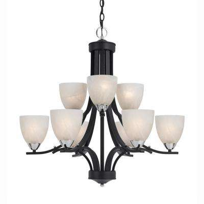 9-Light Black Chandelier with White Swirl Alabsater Glass Shade