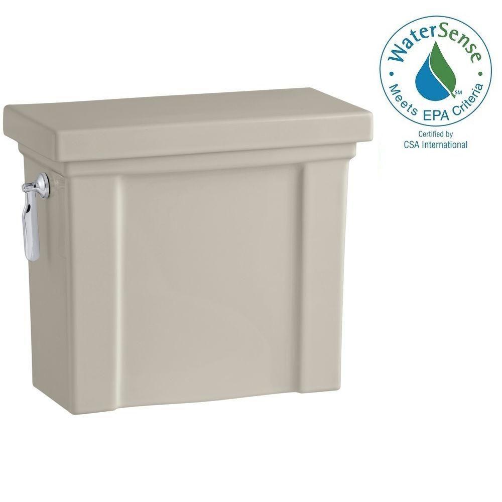 KOHLER Tresham 1.28 GPF Single Flush Toilet Tank Only with AquaPiston Flushing Technology in Sandbar