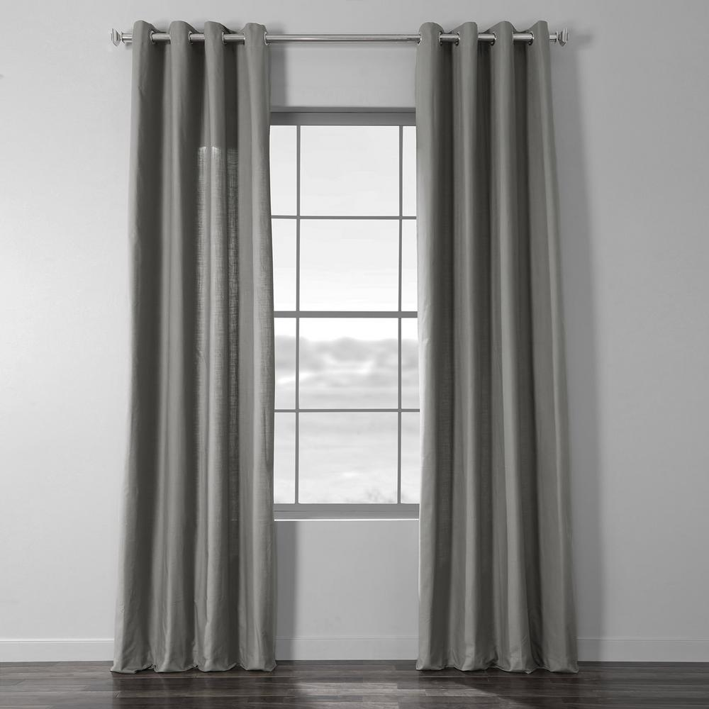 Exclusive Fabrics & Furnishings Shadow Grey Solid Country Cotton Linen Weave Grommet Curtain - 50 in. W x 108 in. L