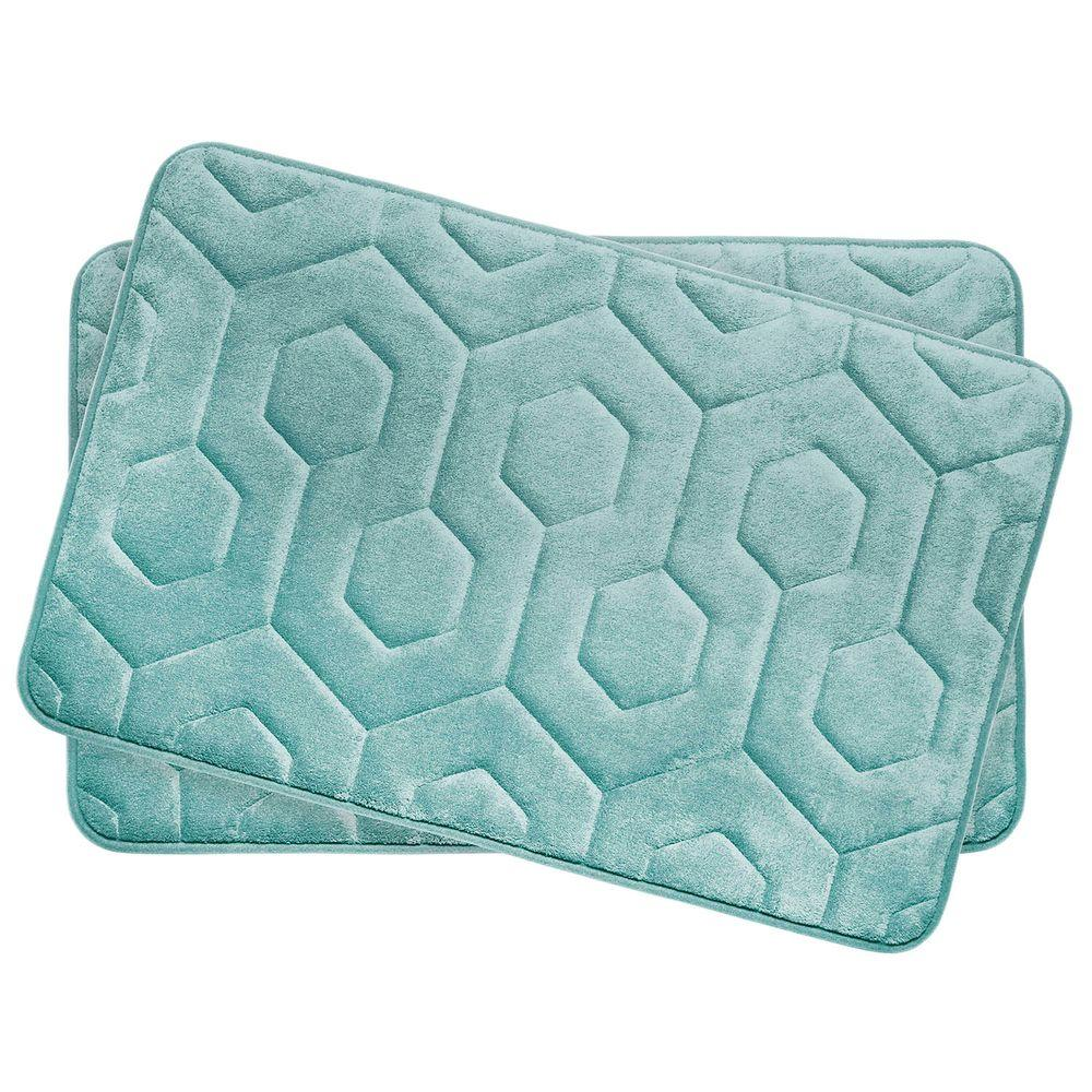 Bouncecomfort Hexagon Aqua 17 In X 24 In Memory Foam