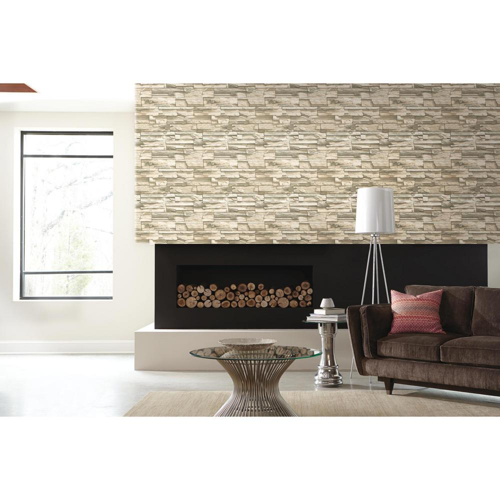 Roommates 28 18 Sq Ft Natural Flat Stone Peel And Stick Wallpaper