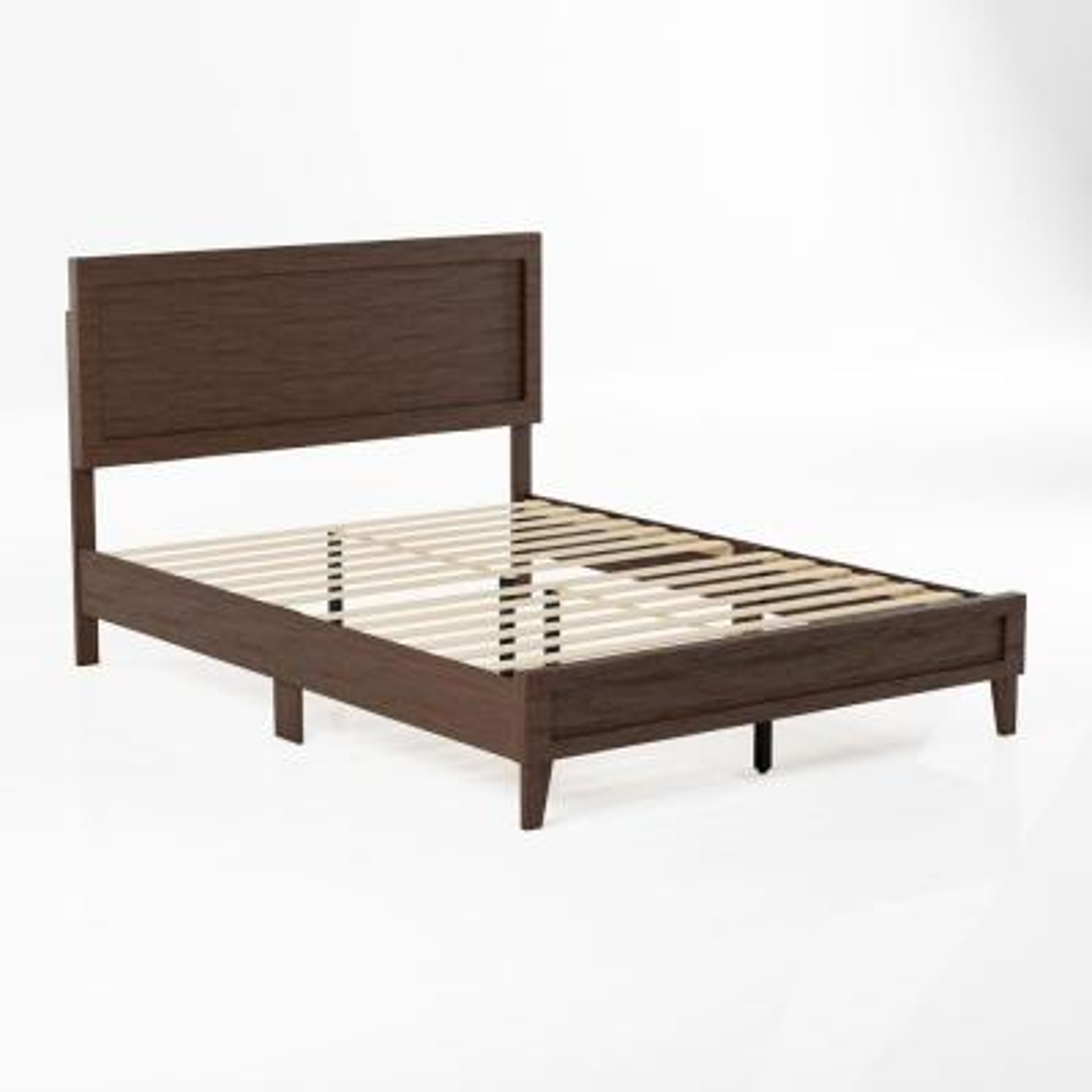 Leah Classic Wood Platform Bed - Queen - Rustic Mahogany