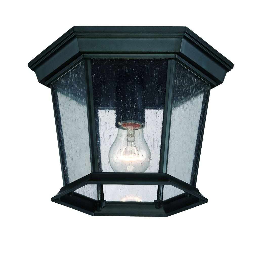 Dover Collection 1-Light Matte Black Outdoor Ceiling Fixture