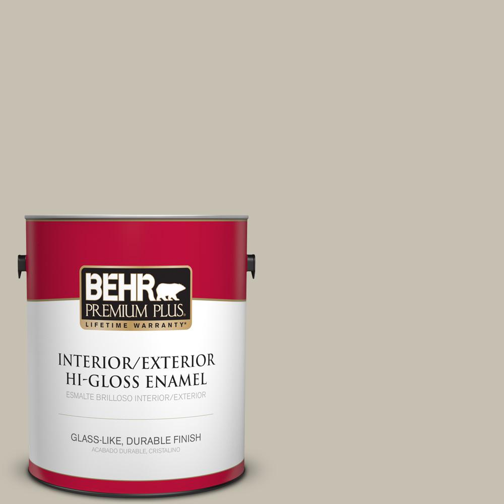 1 gal. #PPU8-17 Fortress Stone Hi-Gloss Enamel Interior/Exterior Paint