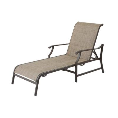 Riverbrook Espresso Brown Padded Sling Steel Outdoor Patio Chaise Lounge Chair