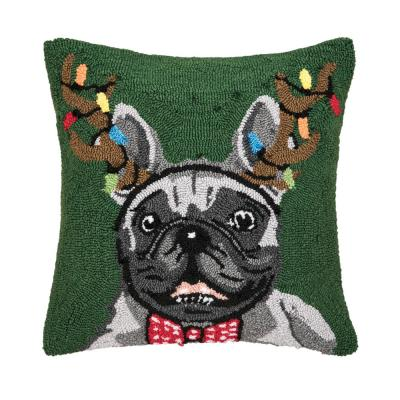 French Bulldog Green Pillow 18 in. x 18 in.