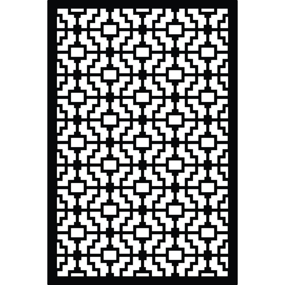 Fret 32 in. x 4 ft. Black Vinyl Decorative Screen Panel