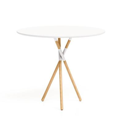Blythe 30 in. White/Natural Round Dining Table