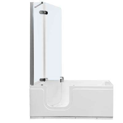 Aquarite Deluxe 4.92 ft. Universal Fit Walk-In Bathtub with Air Jets, Clear Tempered Glass Shower Left Drain in White