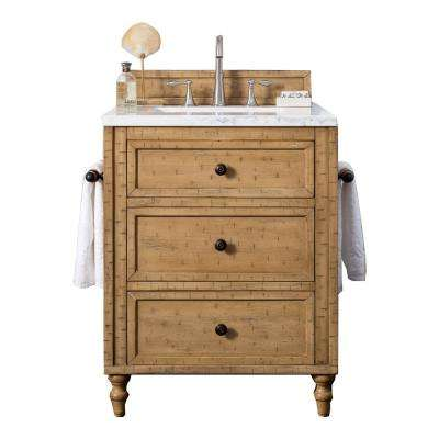Copper Cove 26 in. W Single Bath Vanity in Driftwood Patina with Marble Vanity Top in Carrara White with White Basin