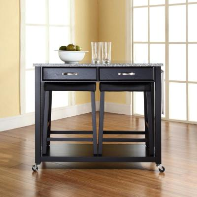 Black Kitchen Cart with Granite Top and Stools