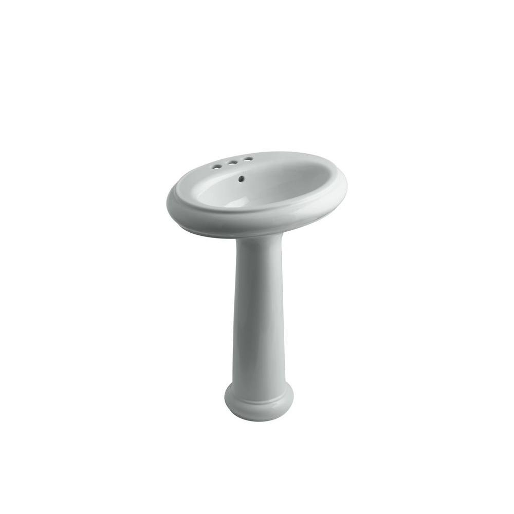 KOHLER Revival Pedestal Combo Bathroom Sink in Ice Grey-DISCONTINUED