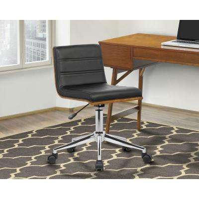 Bowie 31 in. Black Faux Leather and Chrome Finish Mid-Century Office Chair