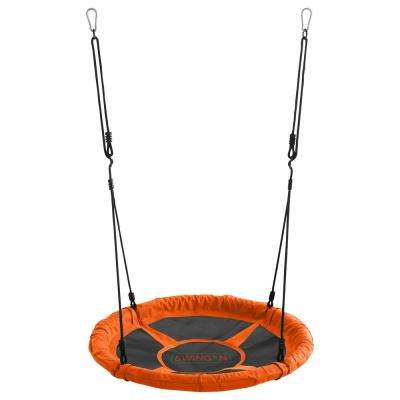 Swingan - 37.5 in. Super Fun Nest Swing With Adjustable Ropes - Solid Fabric Seat Design - Orange