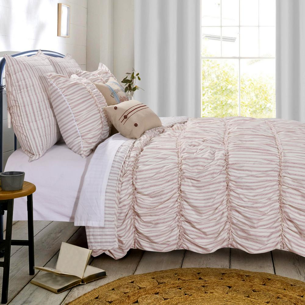 Greenland Home Fashions Farmhouse Chic 3 Piece Red King Quilt Set Gl 1810cmsk The Home Depot