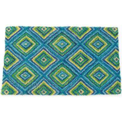 Summer Geometric 18 in. x 30 in. Hand Woven Coir Door Mat