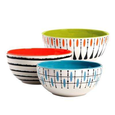 Luminescent 3-Piece Ceramic Mixing Bowl Set