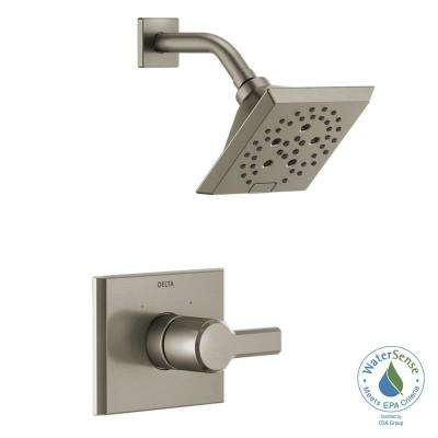 Pivotal 1-Handle Wall-Mount Shower Trim Kit with H2Okinetic Technology in Stainless (Valve Not Included)