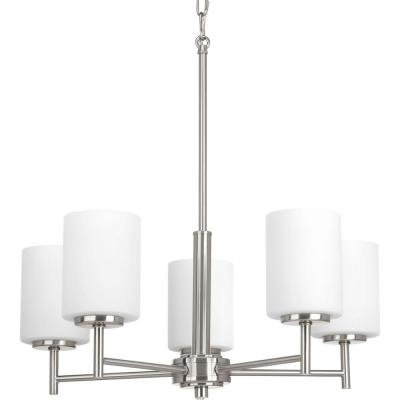 Replay 5-Light Brushed Nickel Chandelier with Etched Fluted Glass Shade