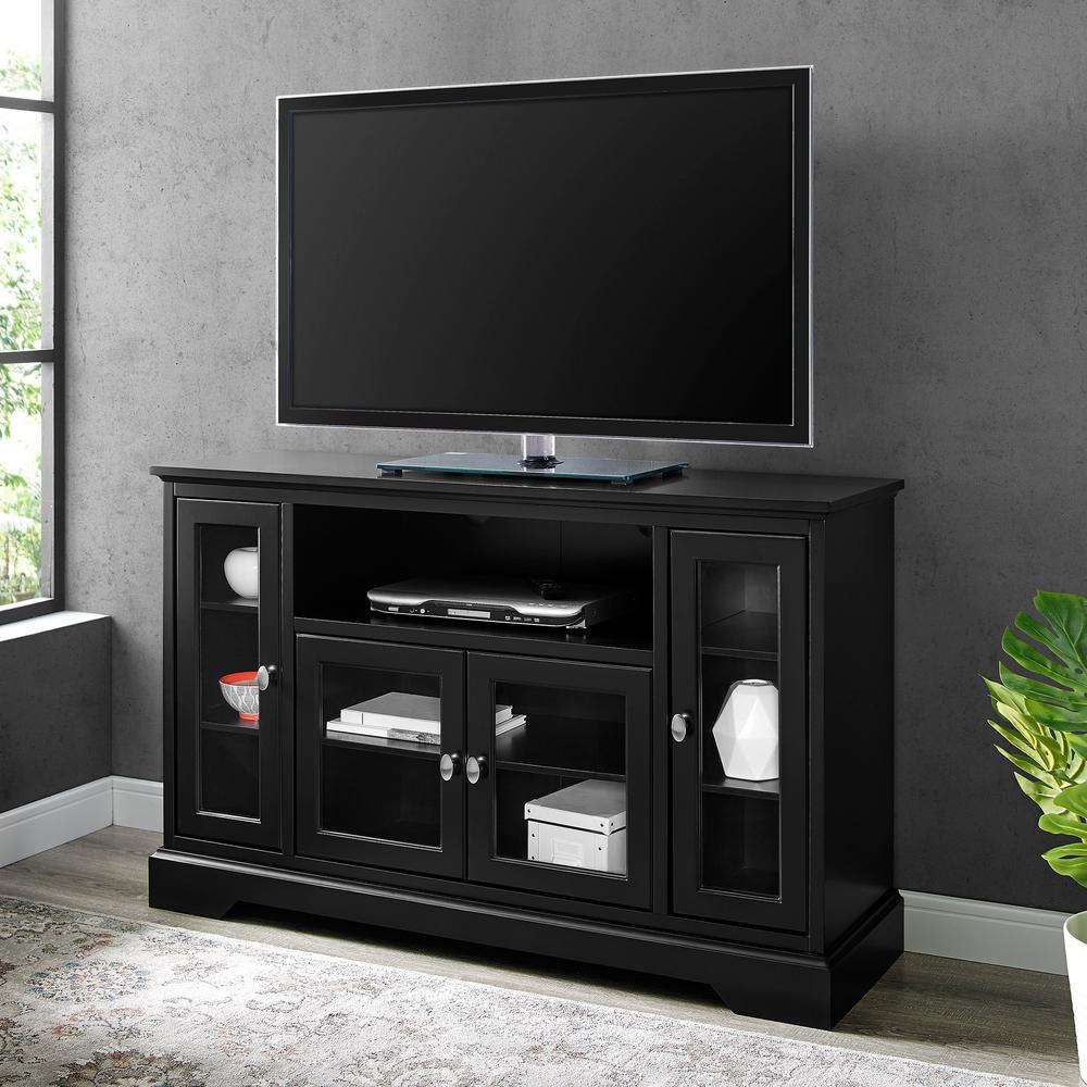 Walker Edison Furniture Company Highboy 52 in. Black Composite TV Cabinet 55 in. with Doors was $432.72 now $300.38 (31.0% off)