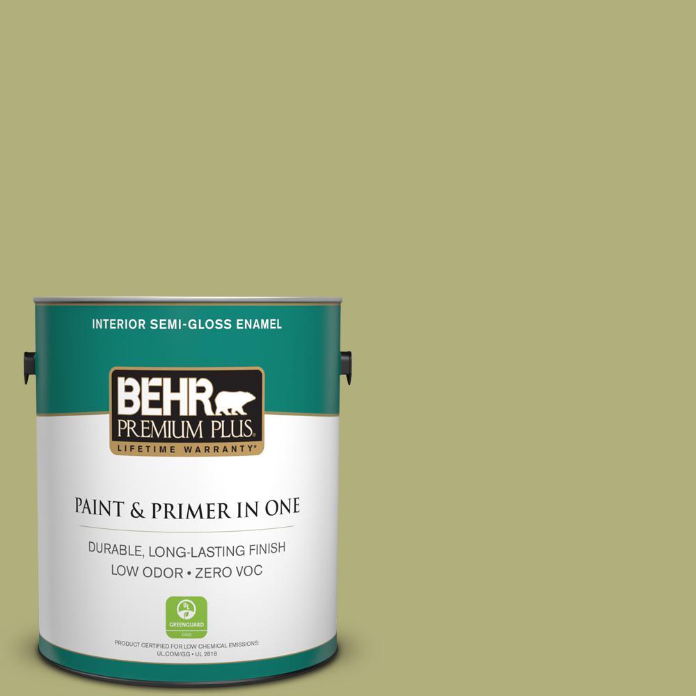 BEHR Premium Plus 1-gal. #M340-5 Fresh Artichoke Semi-Gloss Enamel Interior Paint