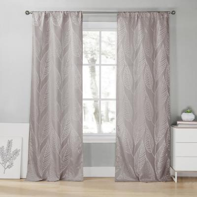 Leah 39 in. W x 96 in. L Polyester Window Panel in Steel Grey