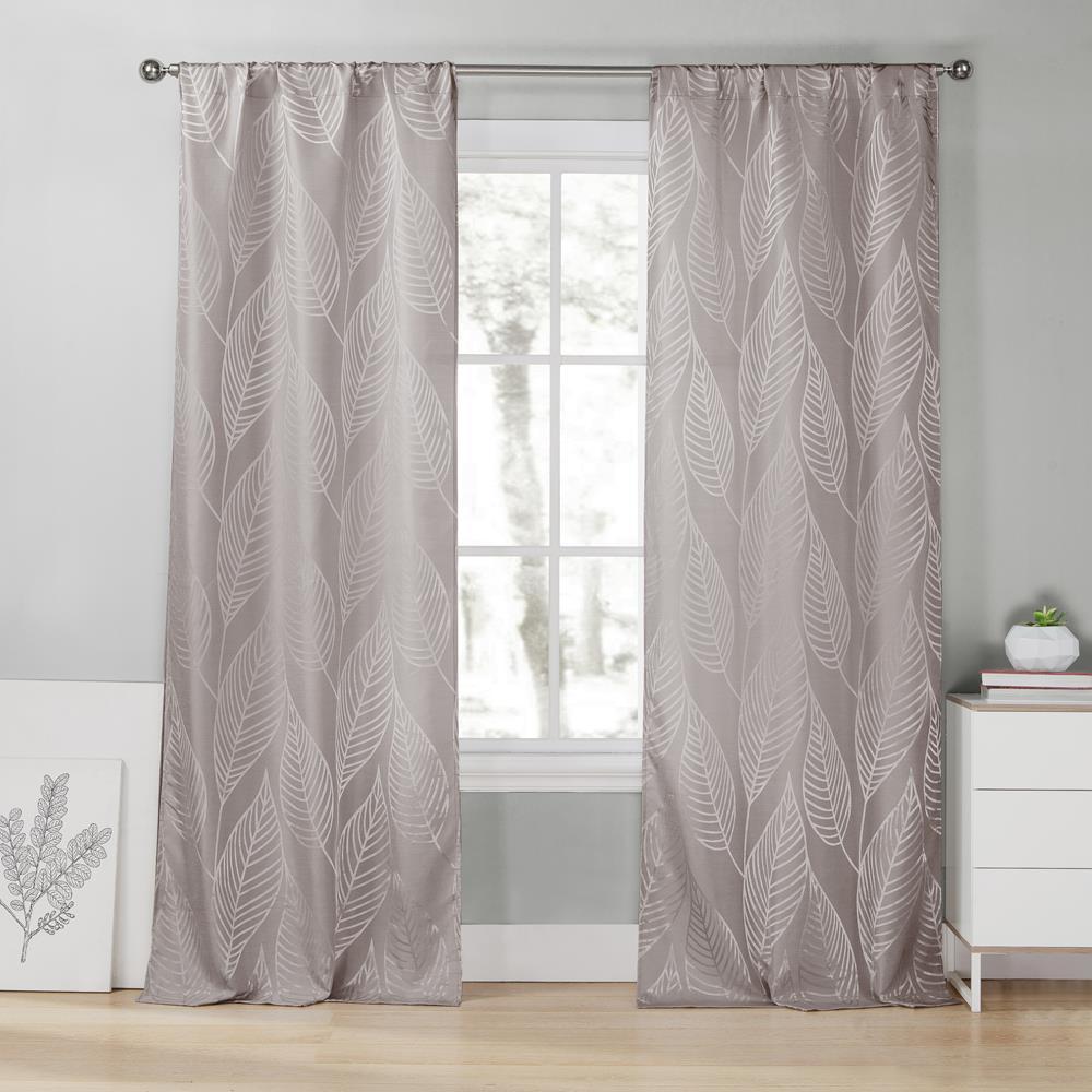 Leah 39 in. W x 96 in. L Polyester Window Panel in Steel Grey
