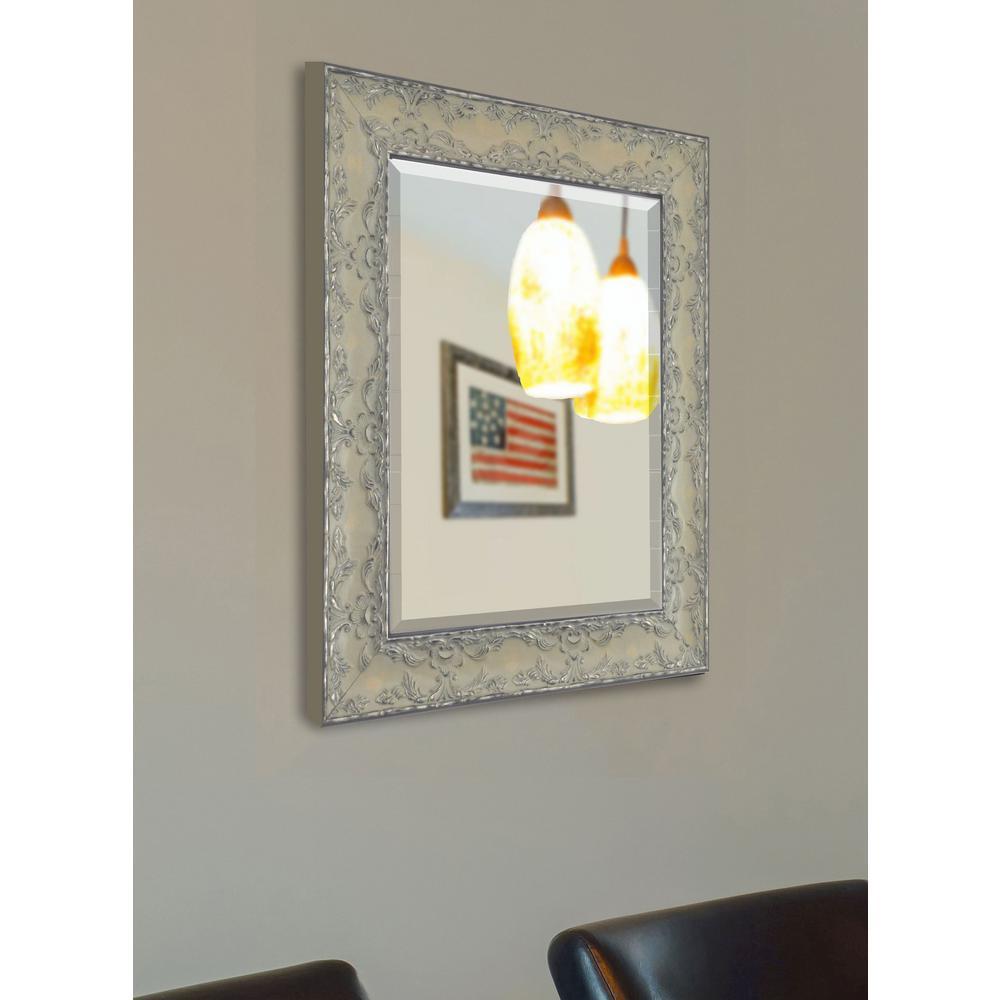 36 in. x 30 in. Maclaren Pewter Beveled Vanity Wall Mirror