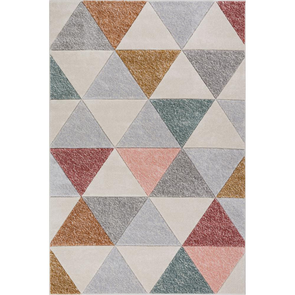 Well Woven Ruby Clark Cream 5 Ft X 7 Modern Geometric Triangle