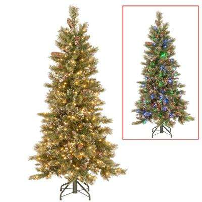 5 ft. PowerConnect Glittering Pine Artificial Christmas Slim Tree with Dual Color LED Lights
