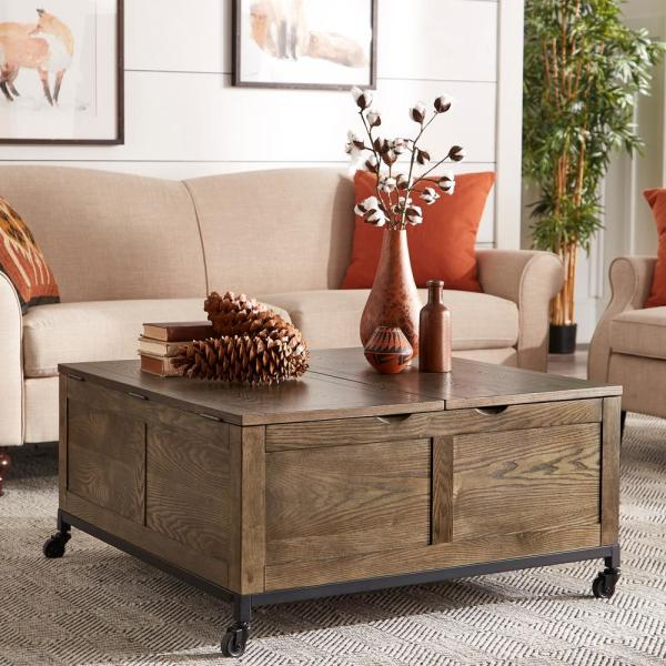 Homesullivan Oak Square Storage Trunk Cocktail Table With Iron Casters 40e773 30 N1 The Home Depot