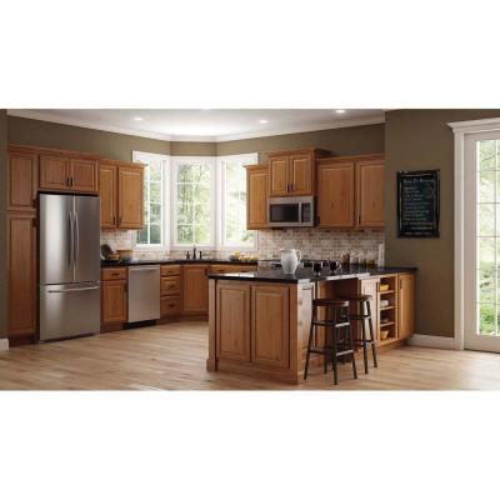 Hampton Assembled 36x12x24 in. Above Refrigerator Deep Wall Bridge Kitchen Cabinet in Medium Oak