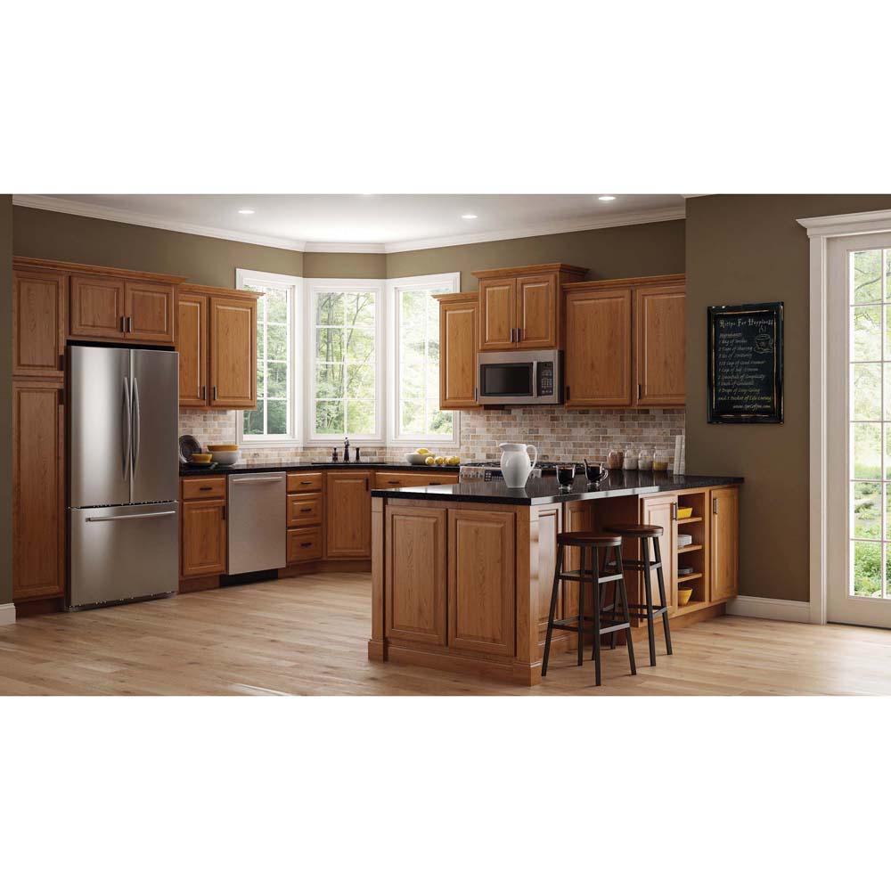 Hampton Bay Hampton Assembled 24x30x12 In Diagonal Corner Wall Kitchen Cabinet In Medium Oak Kwd2430 Mo The Home Depot