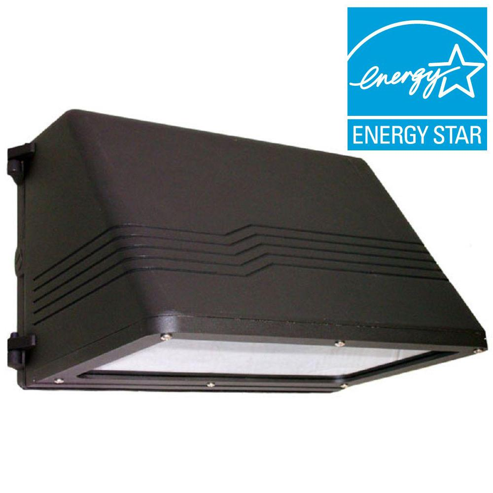 60-Watt Outdoor Black LED Wall Pack with Full Cut-Off Natural White