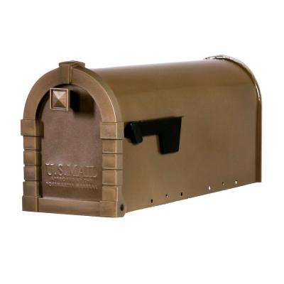 Dennison Decorative Desert Gray Steel Post-Mount Mailbox