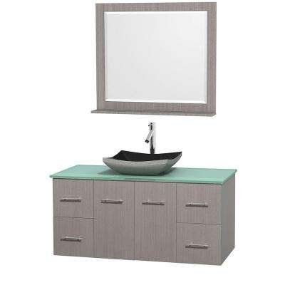 Centra 48 in. Vanity in Gray Oak with Glass Vanity Top in Green, Black Granite Sink and 36 in. Mirror
