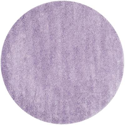 California Shag Lilac 7 ft. x 7 ft. Round Area Rug