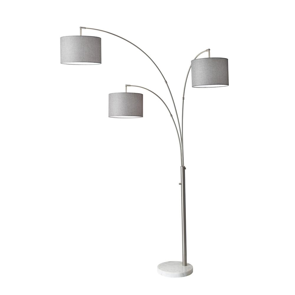 Gray floor lamps lamps the home depot steel bowery 3 arm arc lamp aloadofball Choice Image