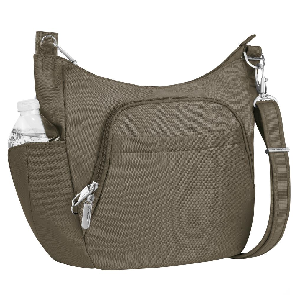 Anti-Theft Nutmeg Poly Crossbody Bucket Tote Bag
