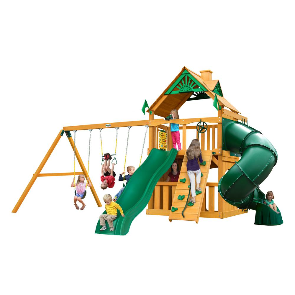 Gorilla Playsets Mountaineer Clubhouse Wooden Swing Set with Timber Shield Posts, Tube Slide and Rock Wall
