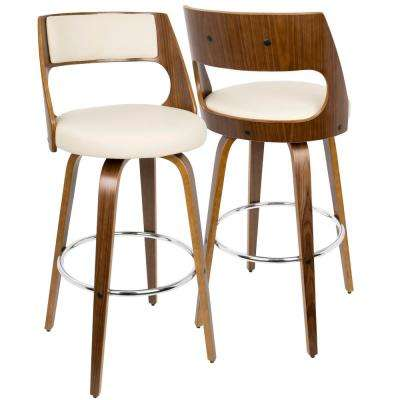 Cecina Walnut and Cream Swivel Barstool