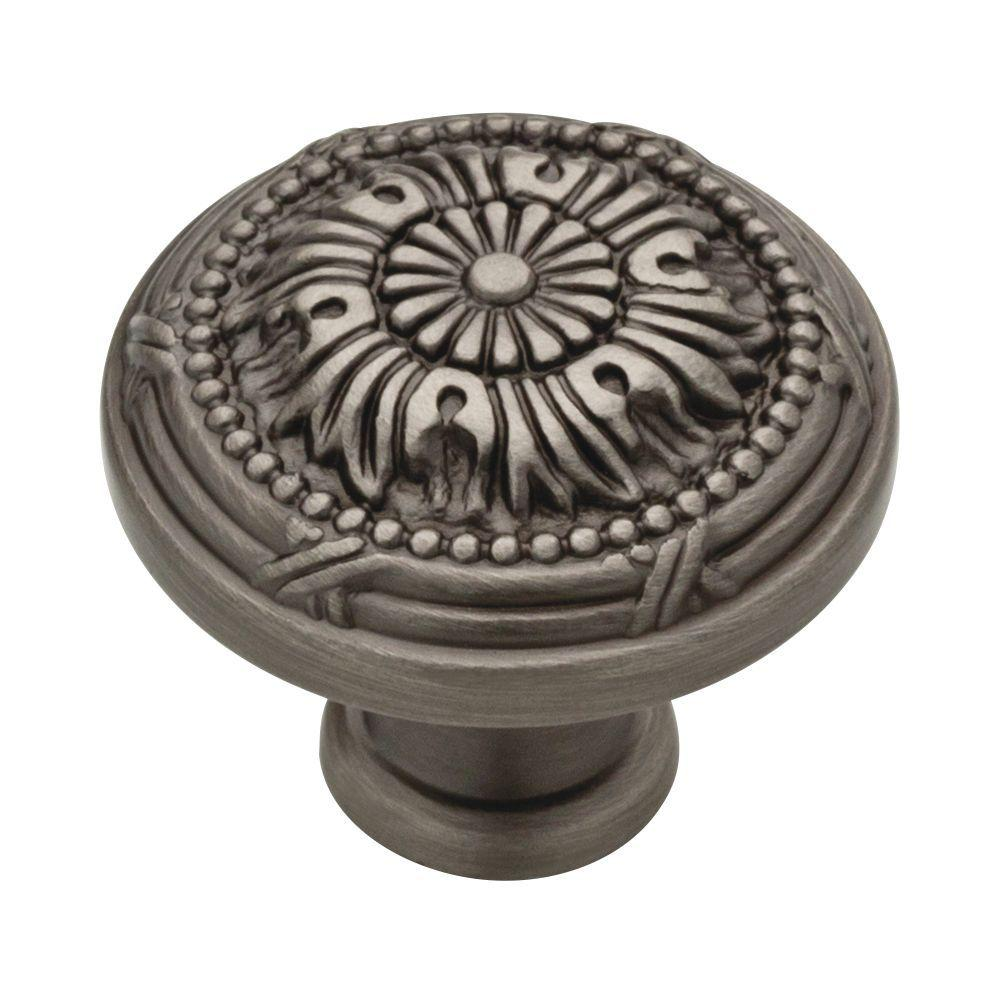 Liberty Provincial Antiques 1 1/8 In. (28mm) Heirloom Silver Round Vintage  Cabinet Knob P10114 904 C   The Home Depot