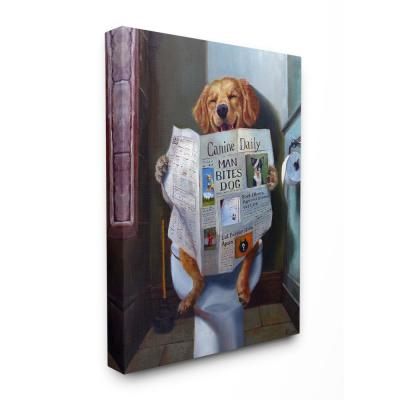 "16 in. x 20 in. ""Dog Reading the Newspaper On Toilet Funny Painting"" by Artist Lucia Heffernan Canvas Wall Art"