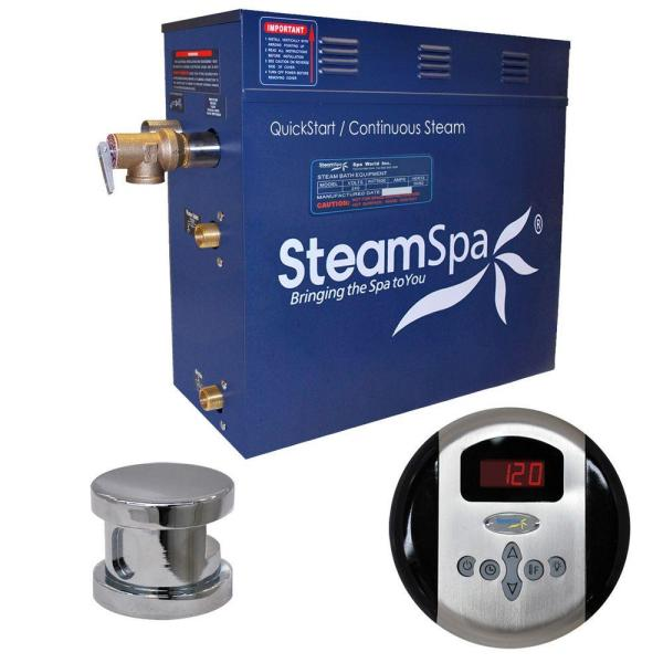 SteamSpa Oasis 6kW Steam Bath Generator Package in Chrome