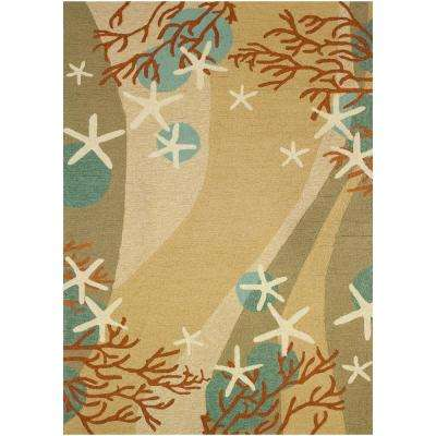 Coral Waves Beige 8 ft. x 10 ft. Indoor/Outdoor Area Rug